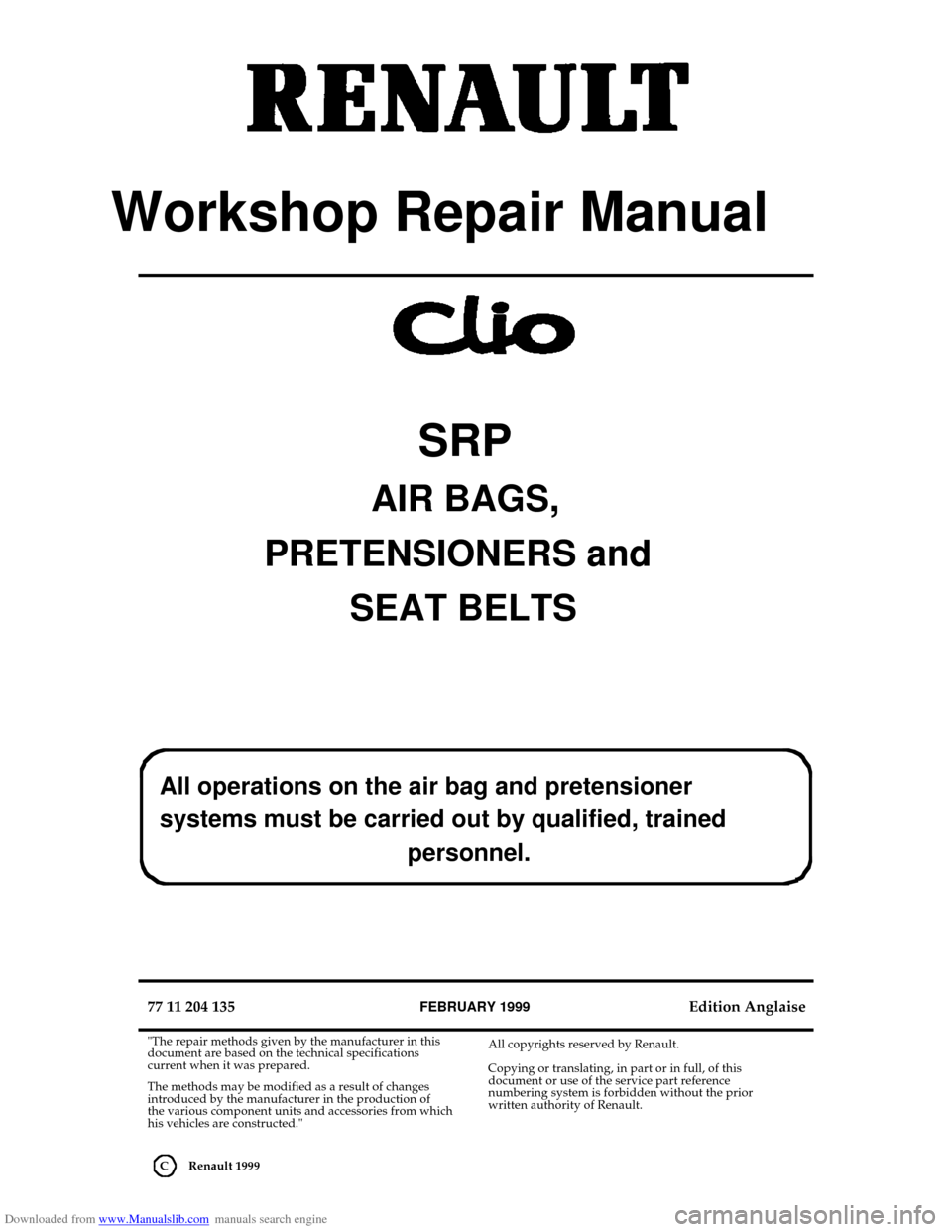 RENAULT CLIO 1999 X65 / 2.G Air Bag And Seat Belts Workshop Manual, Page 1