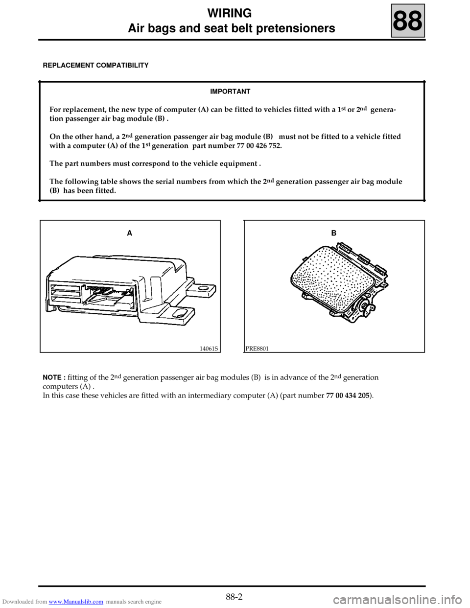 RENAULT CLIO 1999 X65 / 2.G Air Bag And Seat Belts Workshop Manual, Page 4