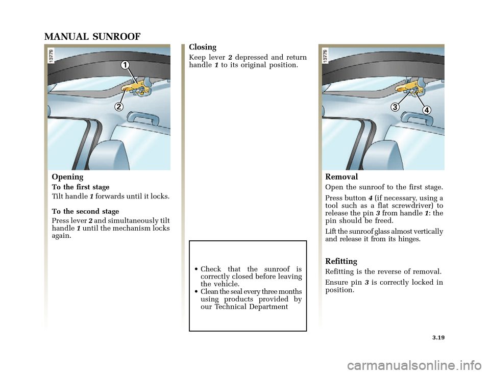 RENAULT CLIO 2000 X65 / 2.G Owners Manual, Page 105
