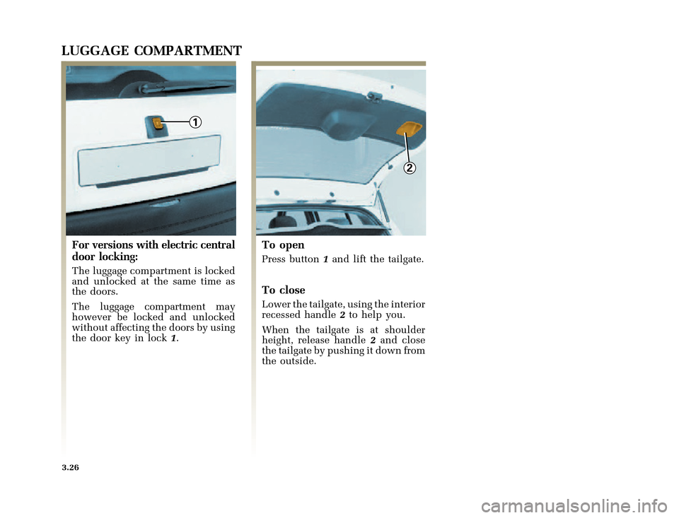 RENAULT CLIO 2000 X65 / 2.G Owners Manual, Page 112