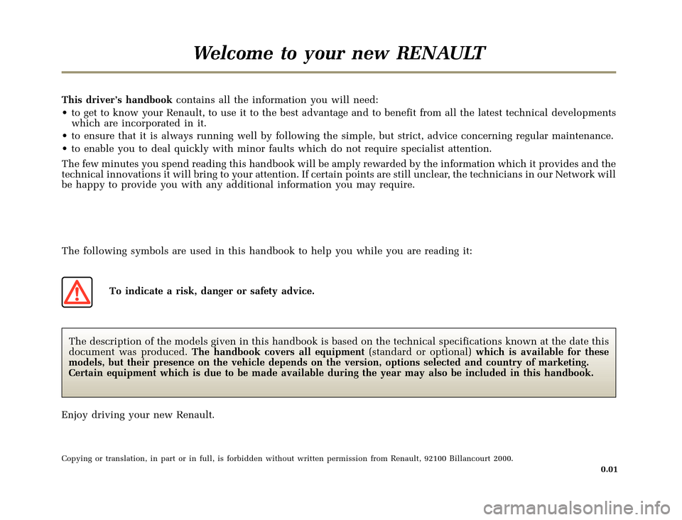 RENAULT CLIO 2000 X65 / 2.G Owners Manual, Page 3