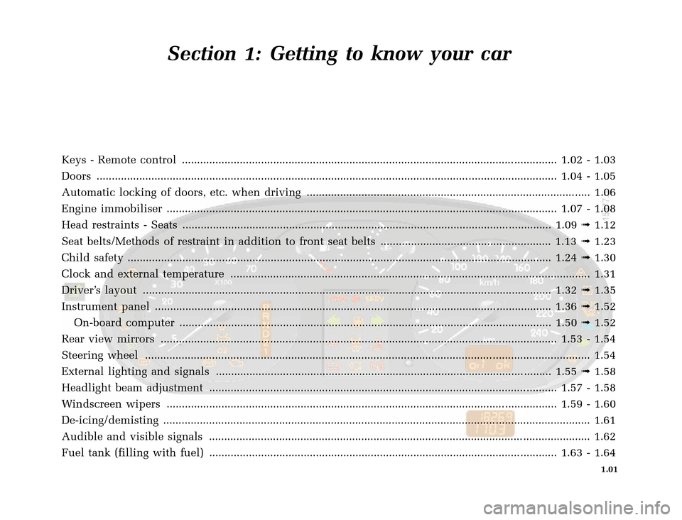 RENAULT CLIO 2000 X65 / 2.G Owners Manual, Page 9