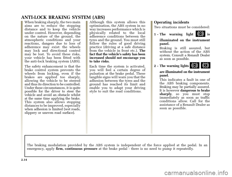 RENAULT CLIO 2000 X65 / 2.G Owners Manual, Page 86