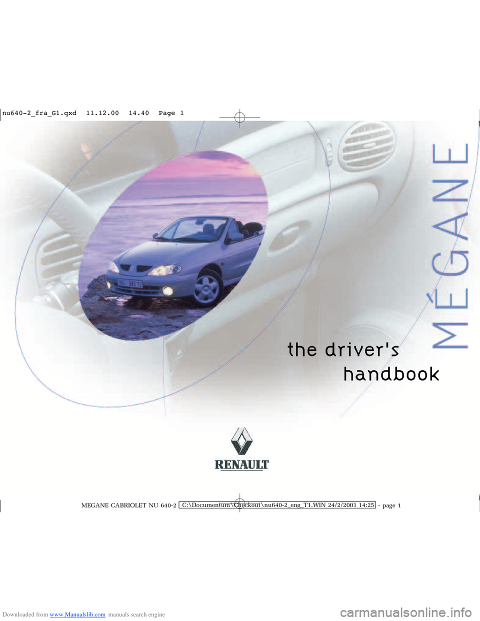 RENAULT MEGANE 2000 X64 / 1.G Owners Manual, Page 1