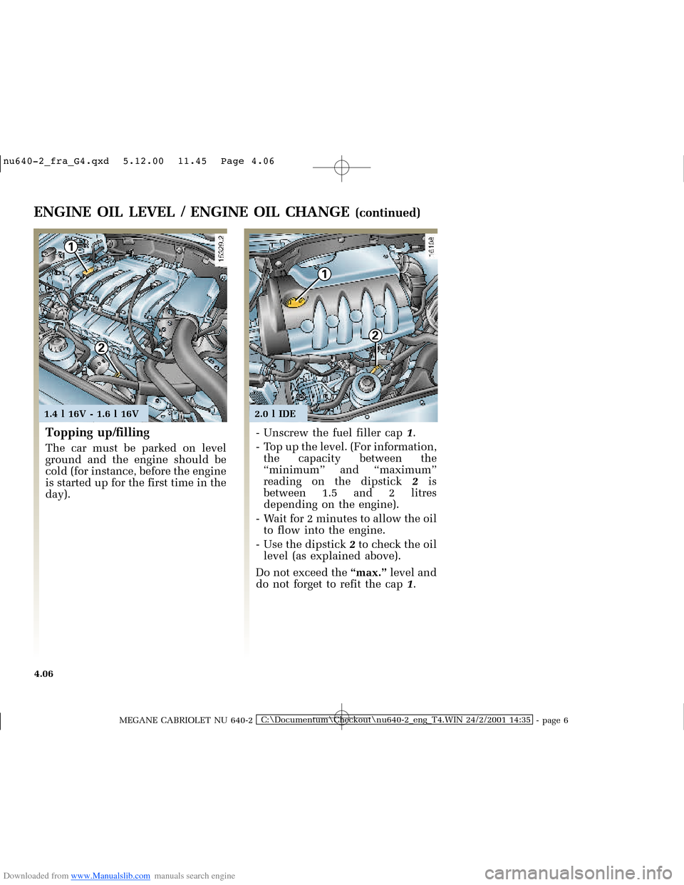RENAULT MEGANE 2000 X64 / 1.G Owners Manual, Page 123