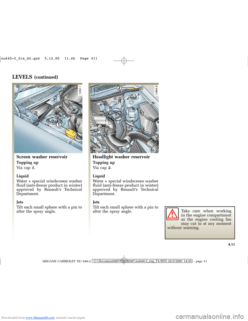 RENAULT MEGANE 2000 X64 / 1.G Owners Manual, Page 128