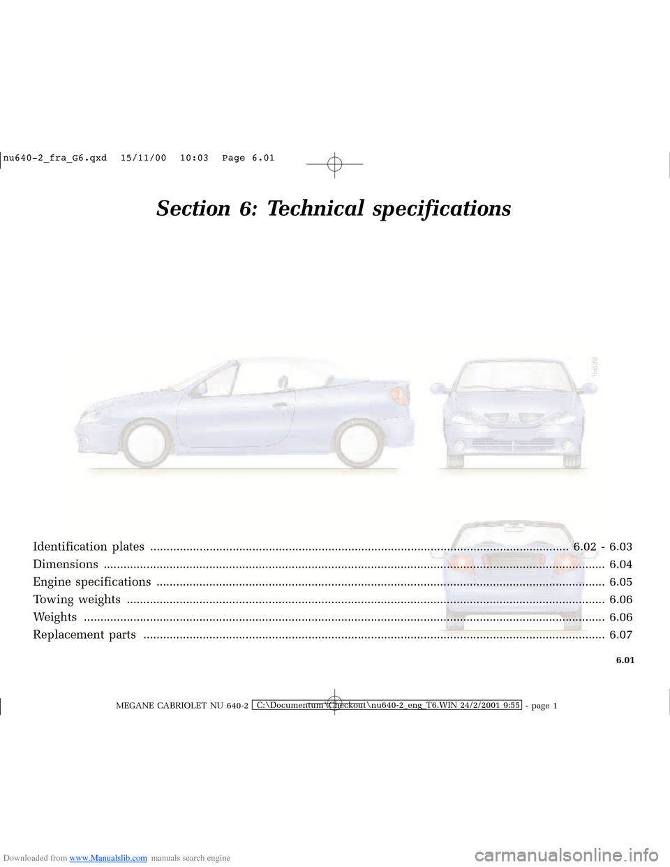 RENAULT MEGANE 2000 X64 / 1.G Owners Manual, Page 170