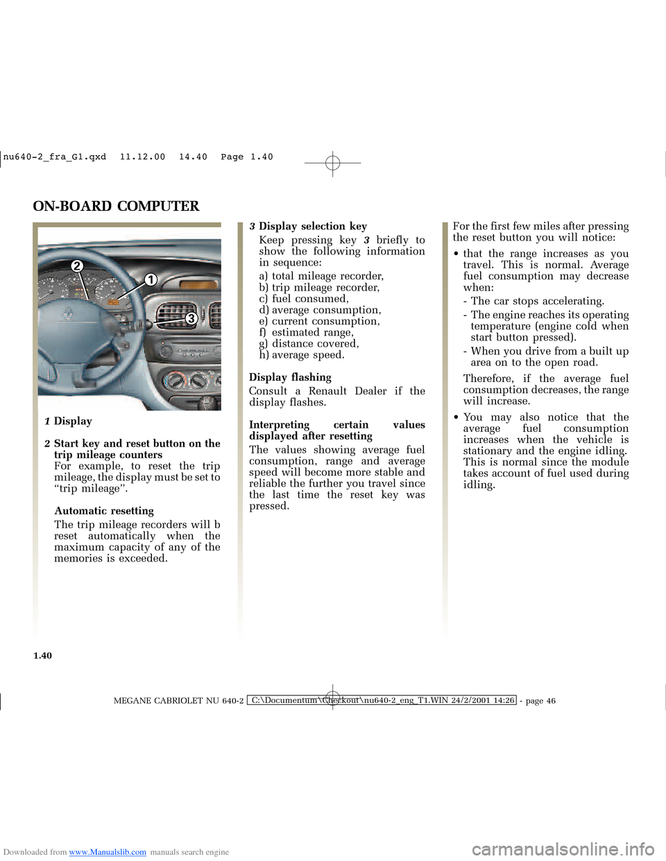 RENAULT MEGANE 2000 X64 / 1.G Owners Manual, Page 45