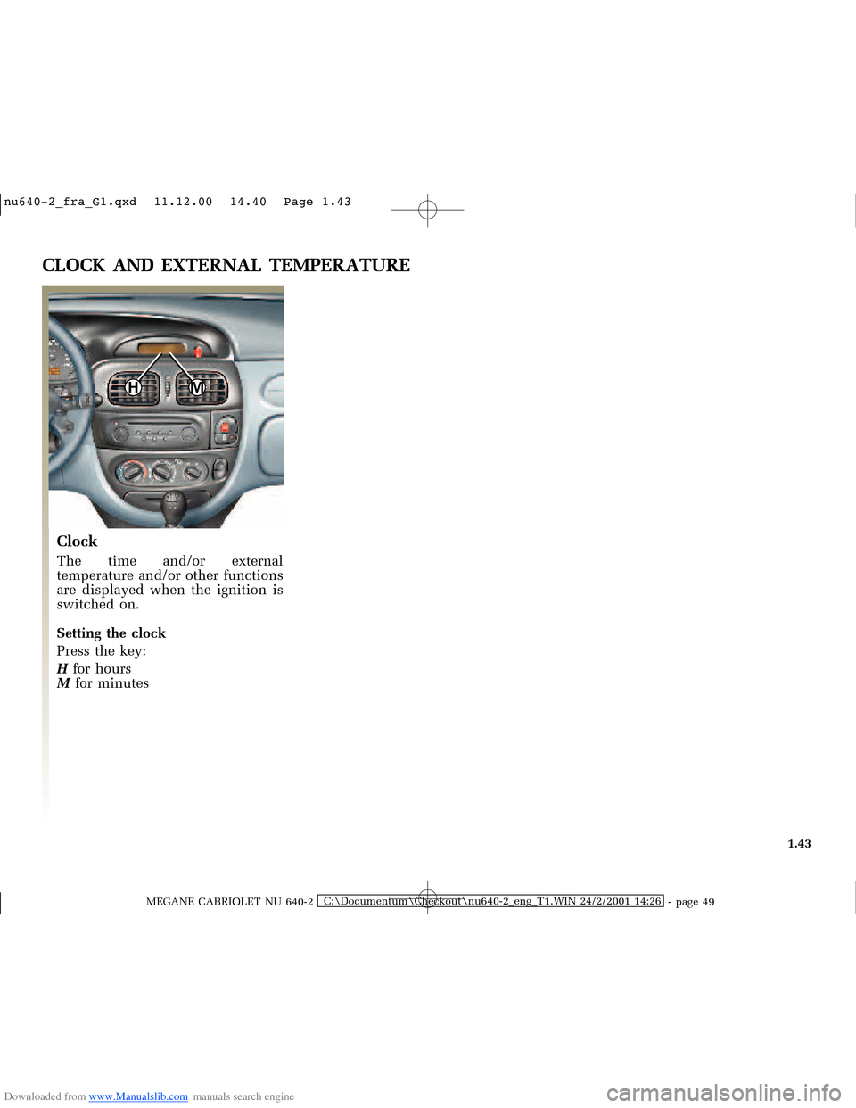RENAULT MEGANE 2000 X64 / 1.G Owners Manual, Page 48