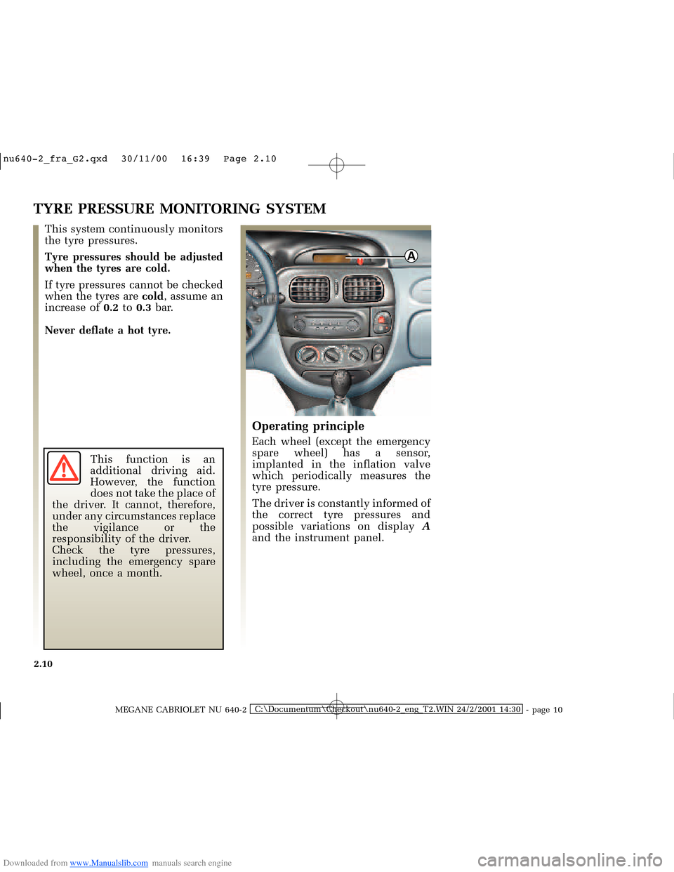 RENAULT MEGANE 2000 X64 / 1.G Owners Manual, Page 69