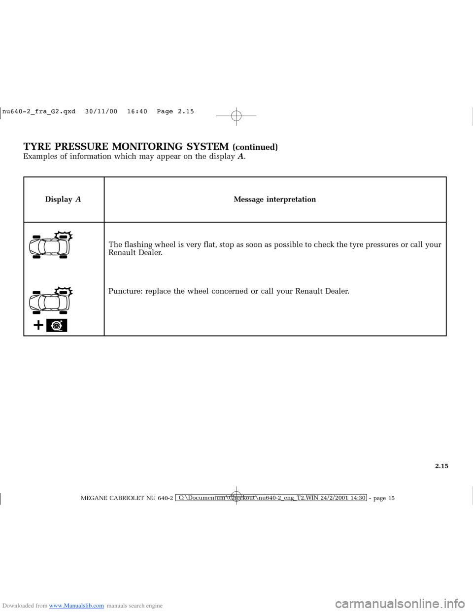 RENAULT MEGANE 2000 X64 / 1.G Owners Manual, Page 74
