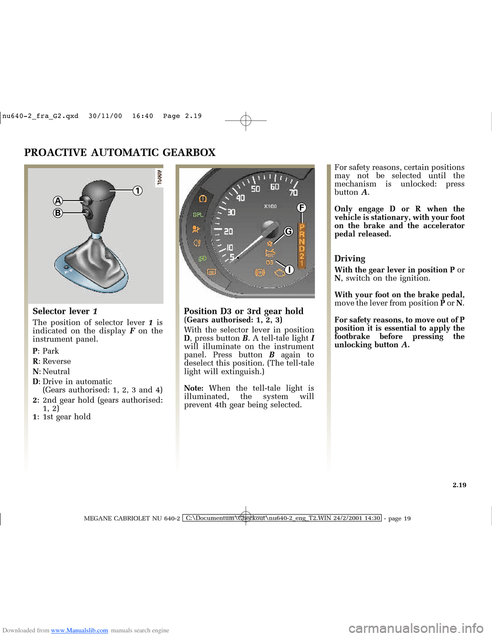 RENAULT MEGANE 2000 X64 / 1.G Owners Manual, Page 78