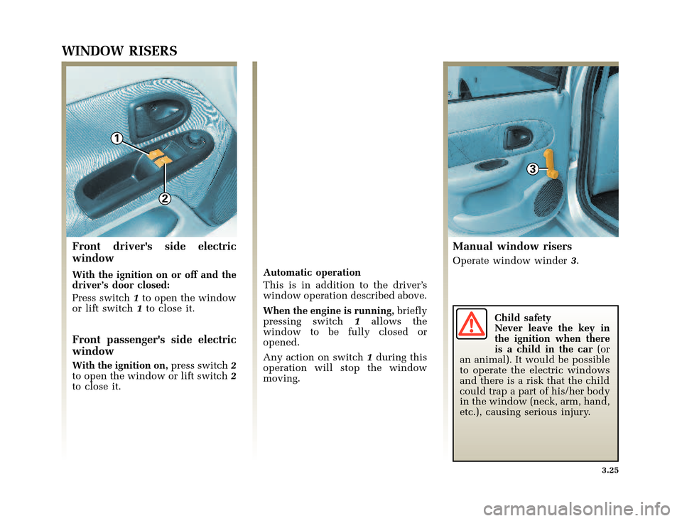 RENAULT CLIO 2003 X65 / 2.G Owners Manual, Page 127