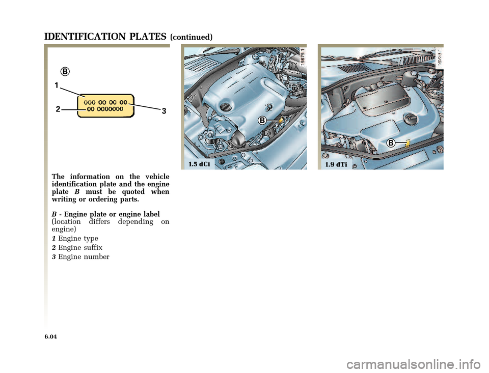 RENAULT CLIO 2003 X65 / 2.G Owners Manual, Page 192