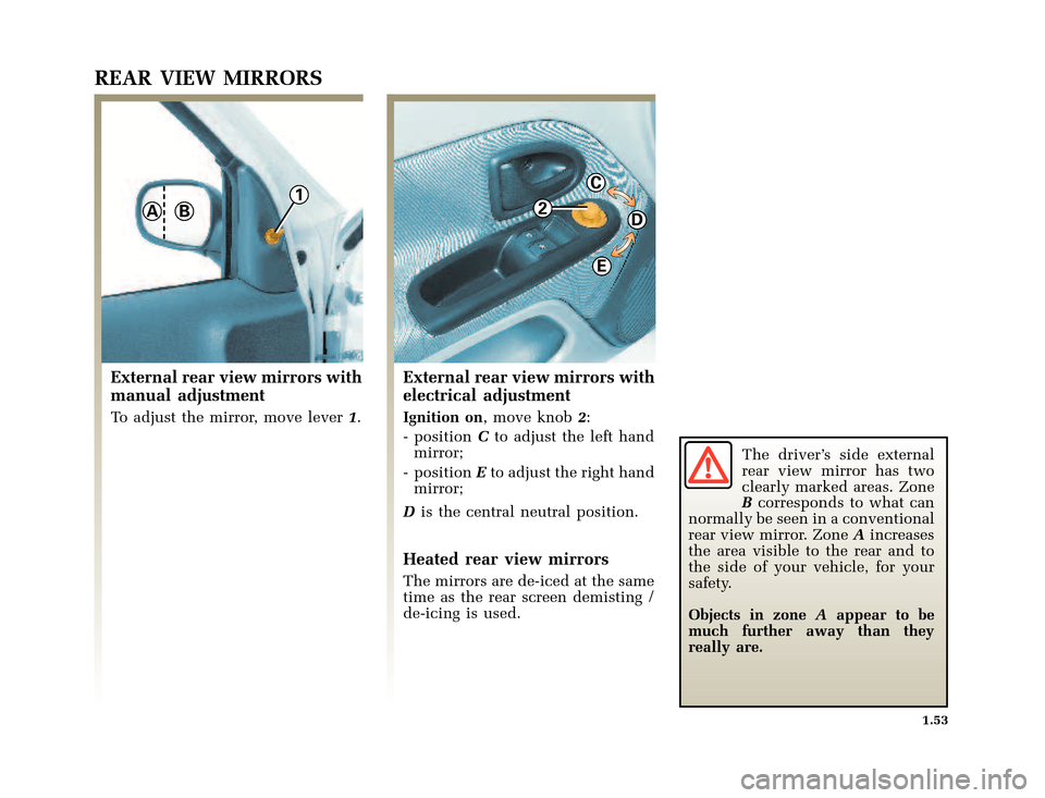 RENAULT CLIO 2003 X65 / 2.G Owners Manual, Page 61