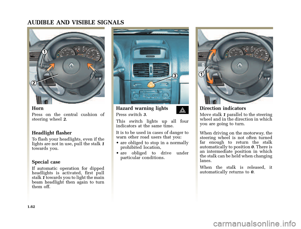 RENAULT CLIO 2003 X65 / 2.G Owners Manual, Page 70