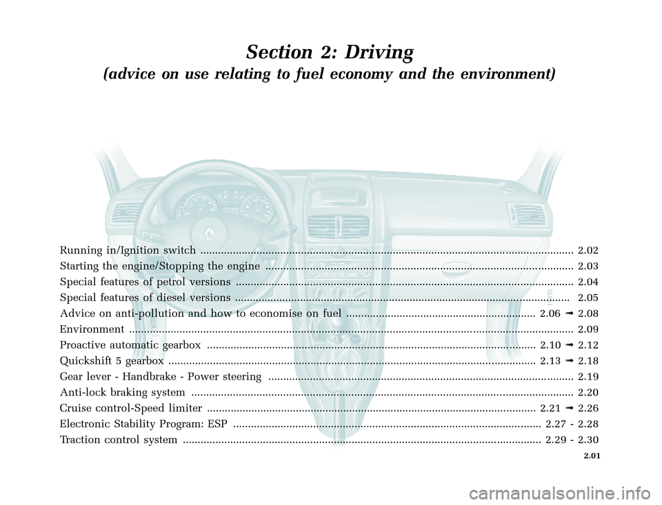 RENAULT CLIO 2003 X65 / 2.G Owners Manual, Page 73