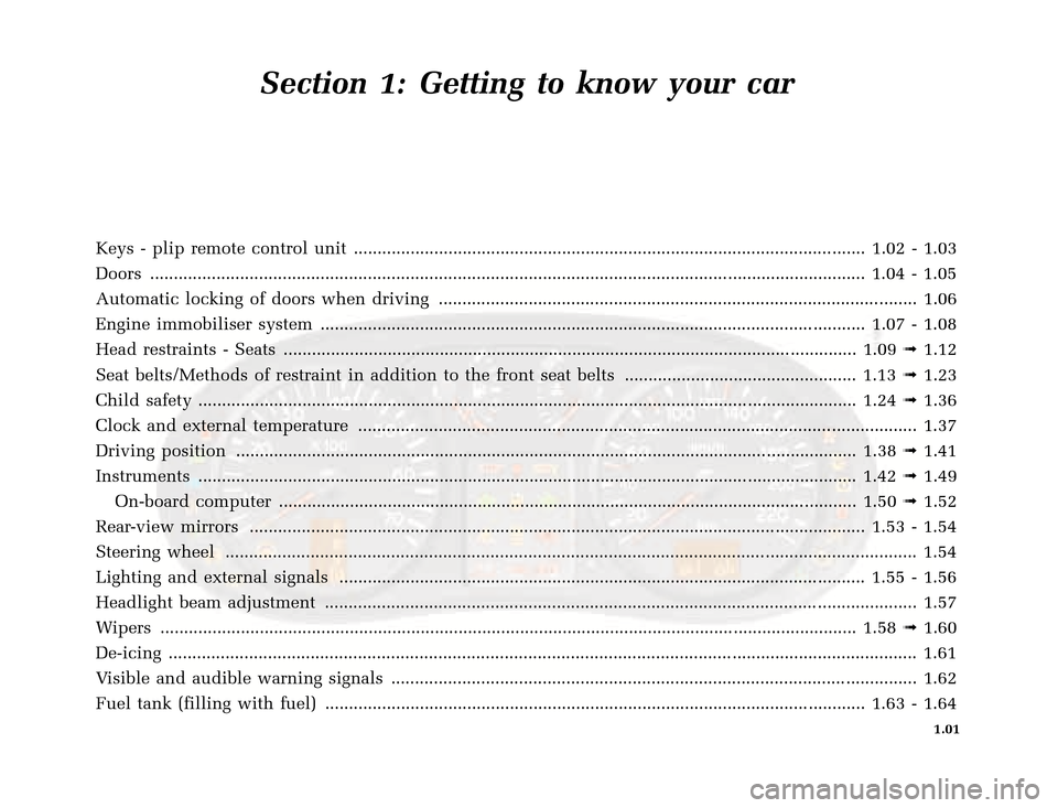 RENAULT CLIO 2003 X65 / 2.G Owners Manual, Page 9