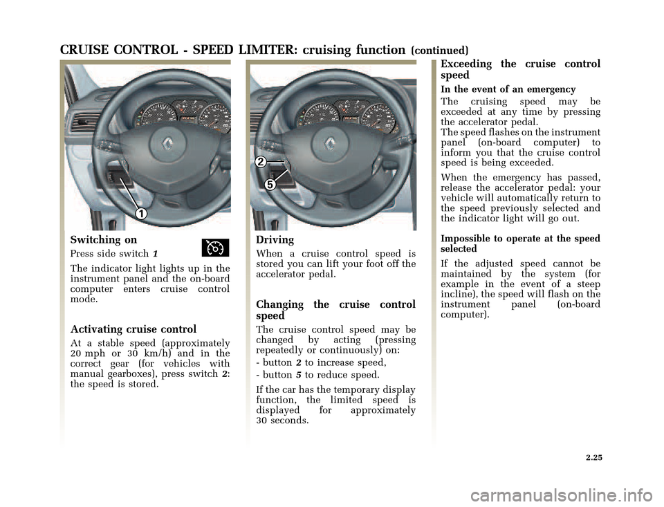 RENAULT CLIO 2003 X65 / 2.G Owners Manual, Page 97