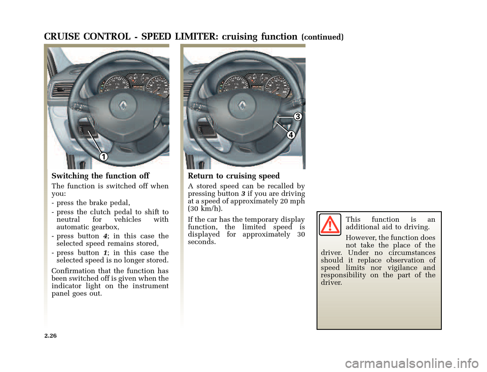 RENAULT CLIO 2003 X65 / 2.G Owners Manual, Page 98