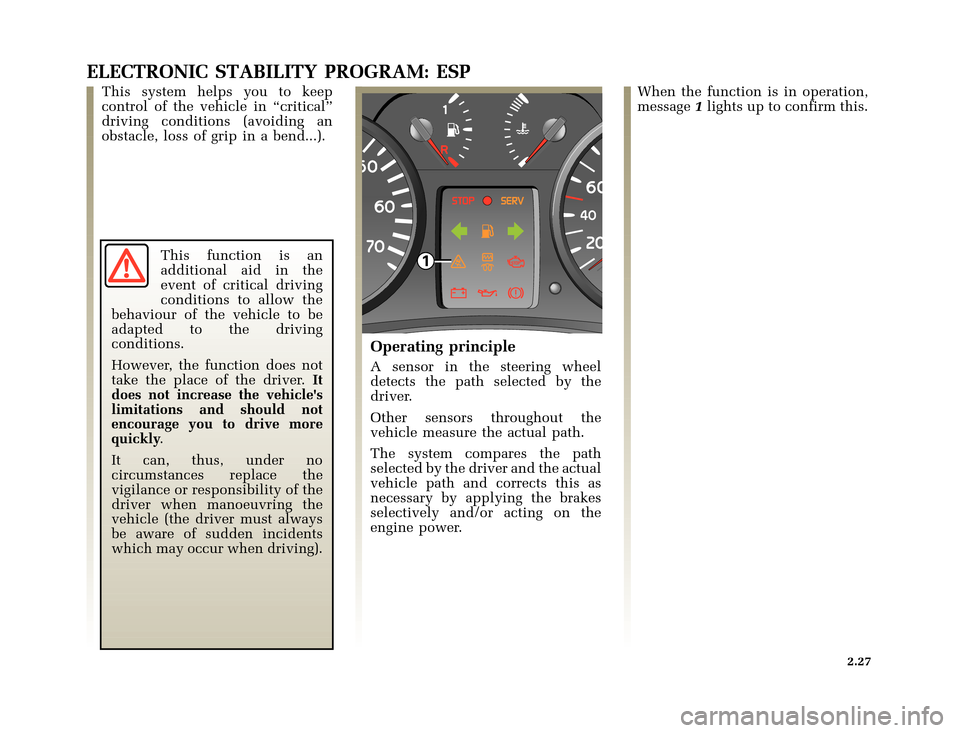 RENAULT CLIO 2003 X65 / 2.G Owners Manual, Page 99