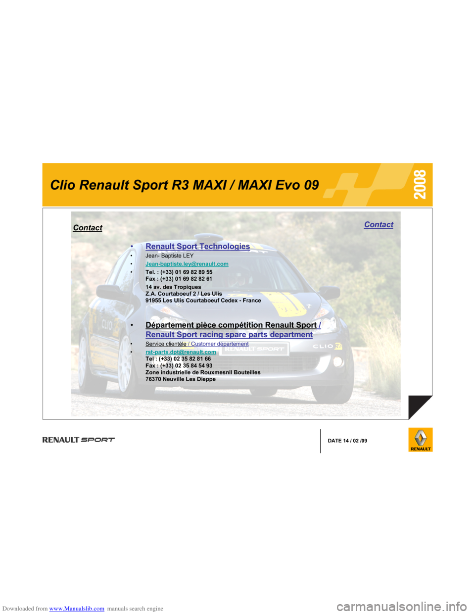 RENAULT CLIO 2008 X85 / 3.G Information Manual, Page 12