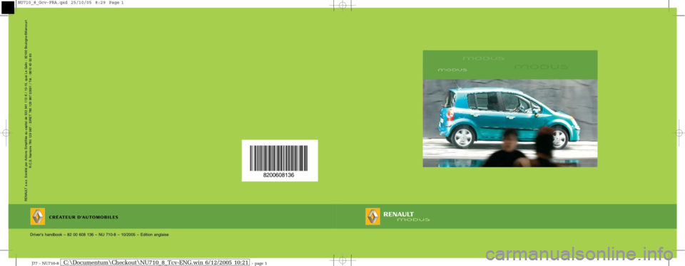 RENAULT MODUS 2008 1.G Owners Manual, Page 1