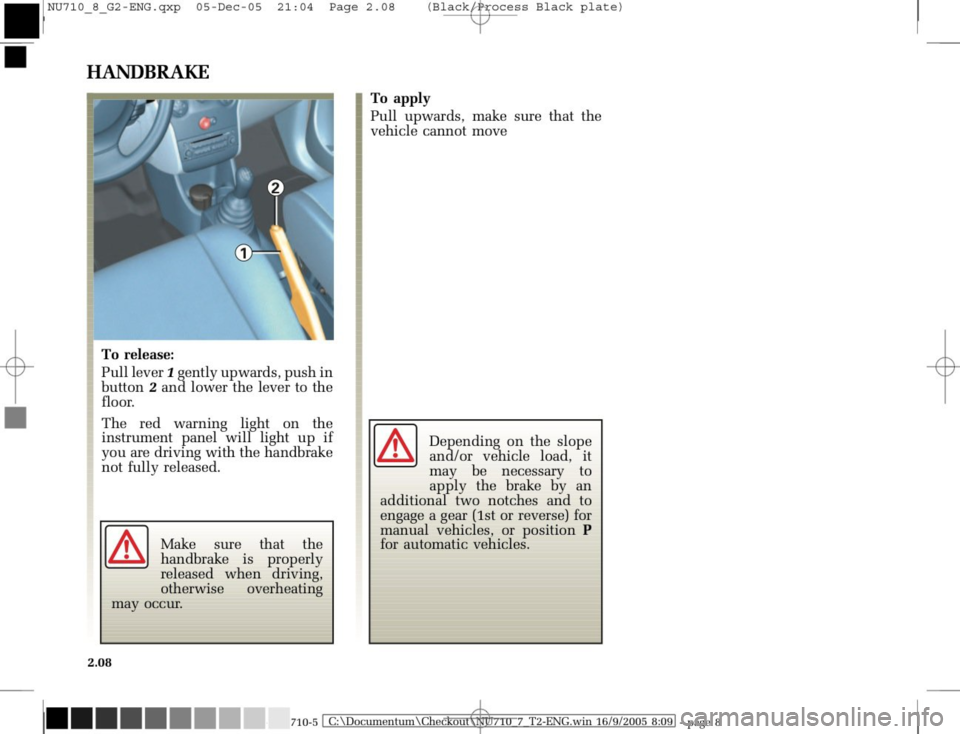 RENAULT MODUS 2008 1.G Owners Manual, Page 104