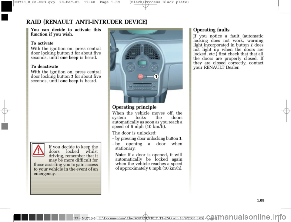 RENAULT MODUS 2008 1.G Owners Manual, Page 17