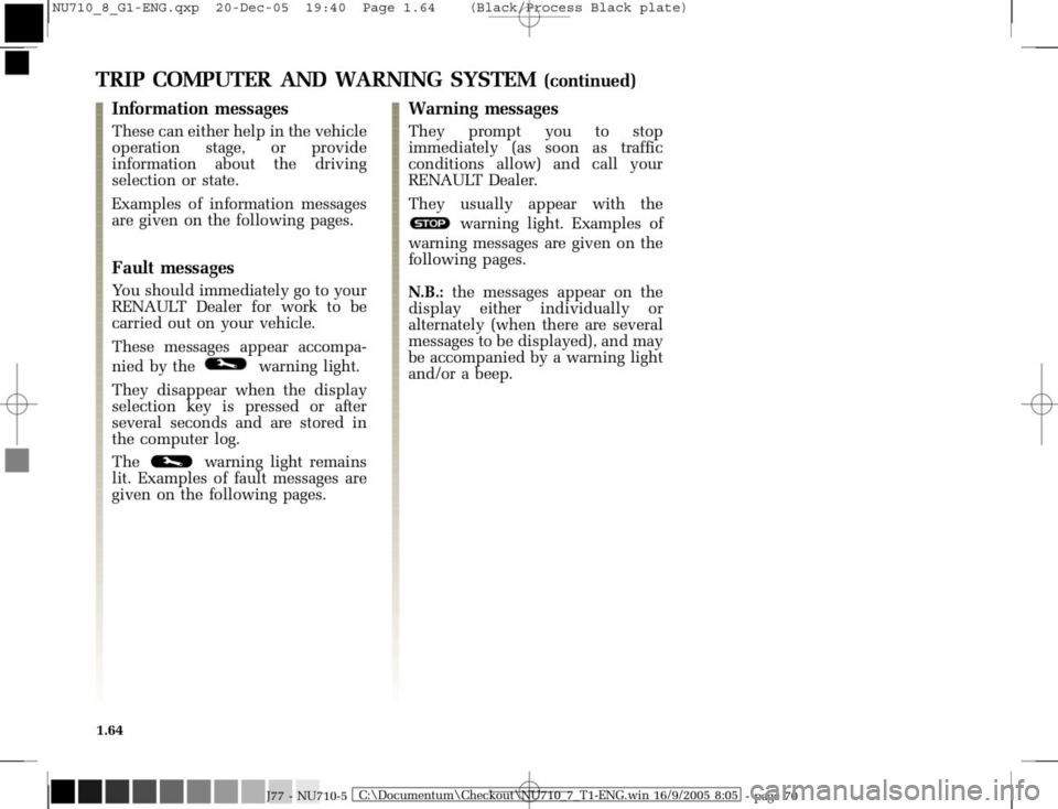 RENAULT MODUS 2008 1.G Owners Manual, Page 72