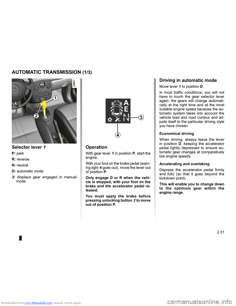 RENAULT CLIO 2009 X85 / 3.G Owners Manual, Page 123