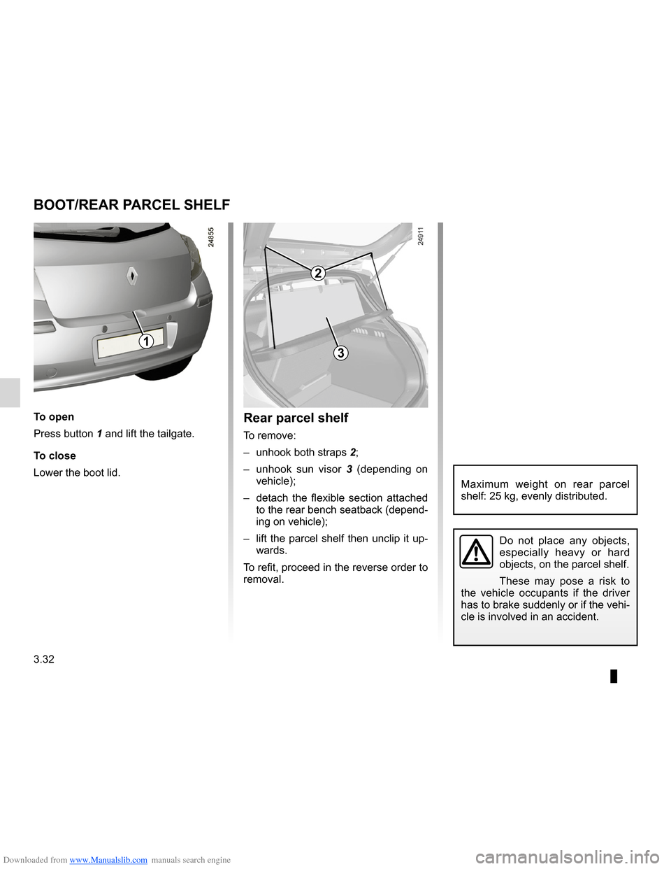 RENAULT CLIO 2012 X85 / 3.G Owners Manual, Page 166
