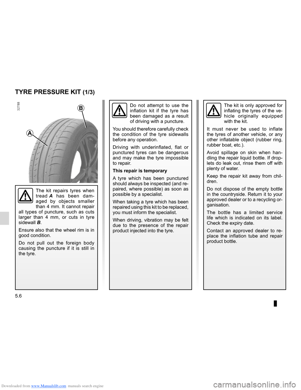 RENAULT CLIO 2012 X85 / 3.G Owners Manual, Page 198