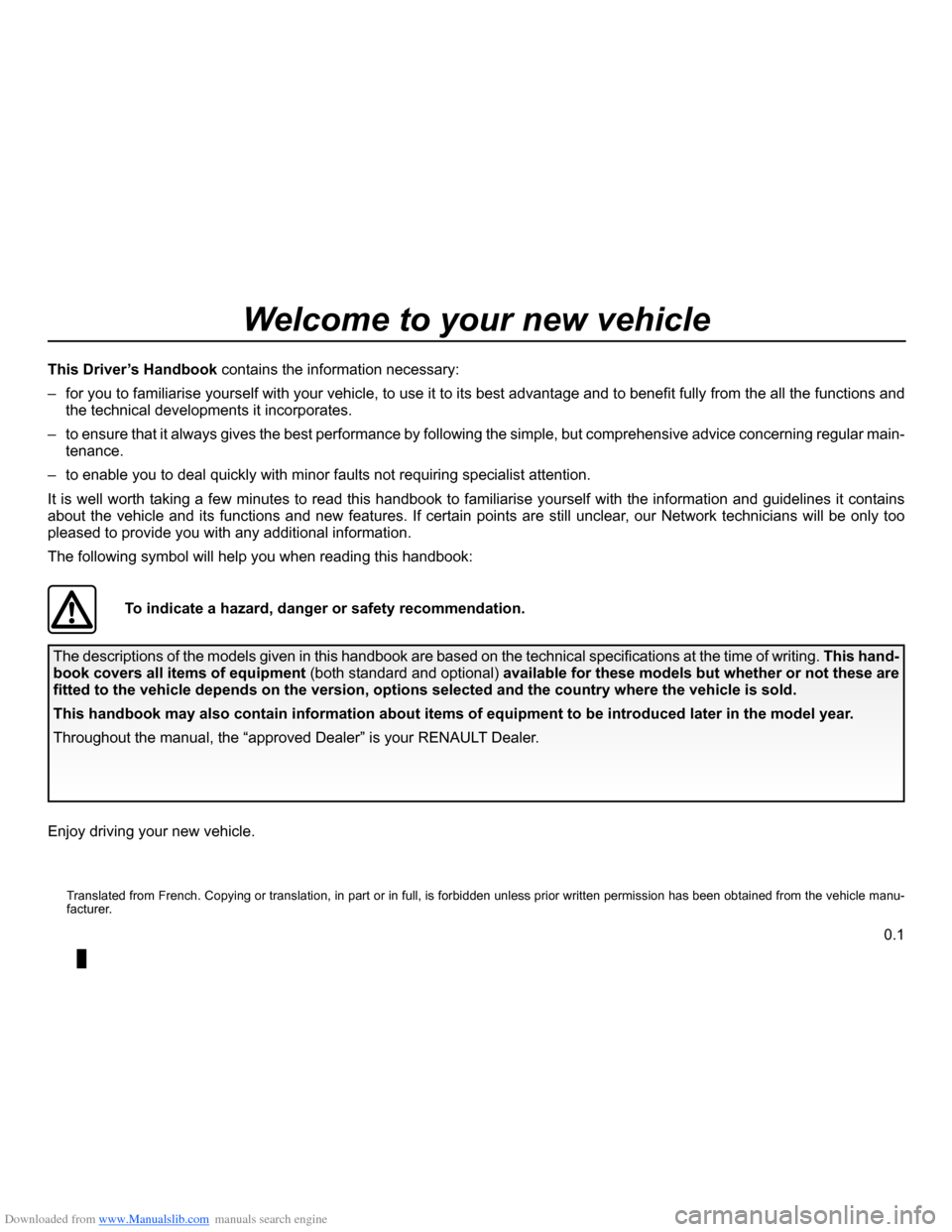 RENAULT CLIO 2012 X85 / 3.G Owners Manual, Page 3