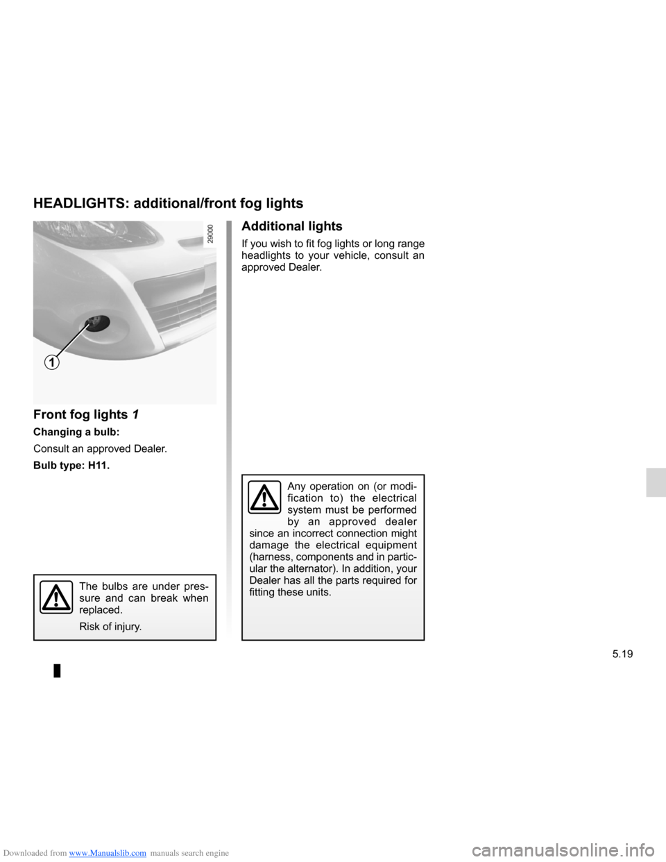 RENAULT CLIO 2012 X85 / 3.G Owners Manual, Page 211