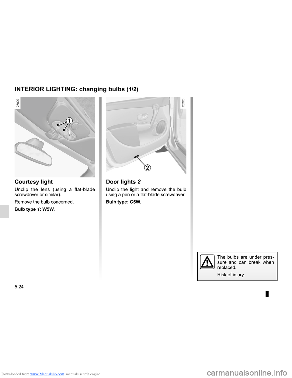 RENAULT CLIO 2012 X85 / 3.G Owners Manual, Page 216