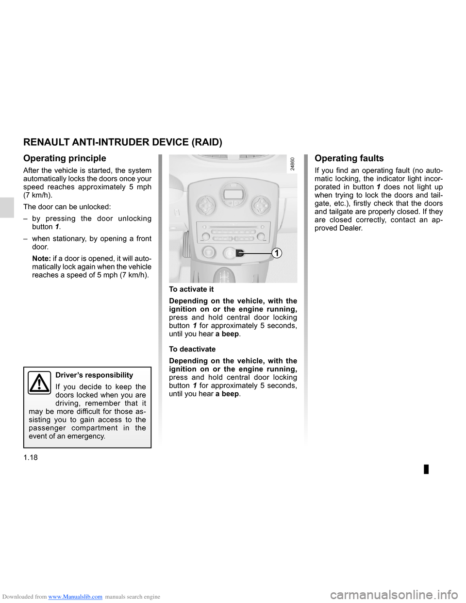 RENAULT CLIO 2012 X85 / 3.G Owners Manual, Page 24