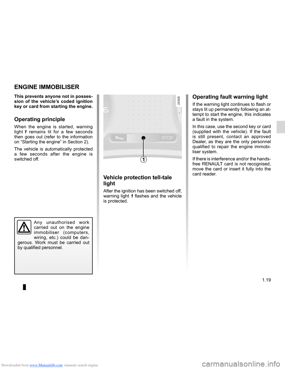 RENAULT CLIO 2012 X85 / 3.G Owners Manual, Page 25