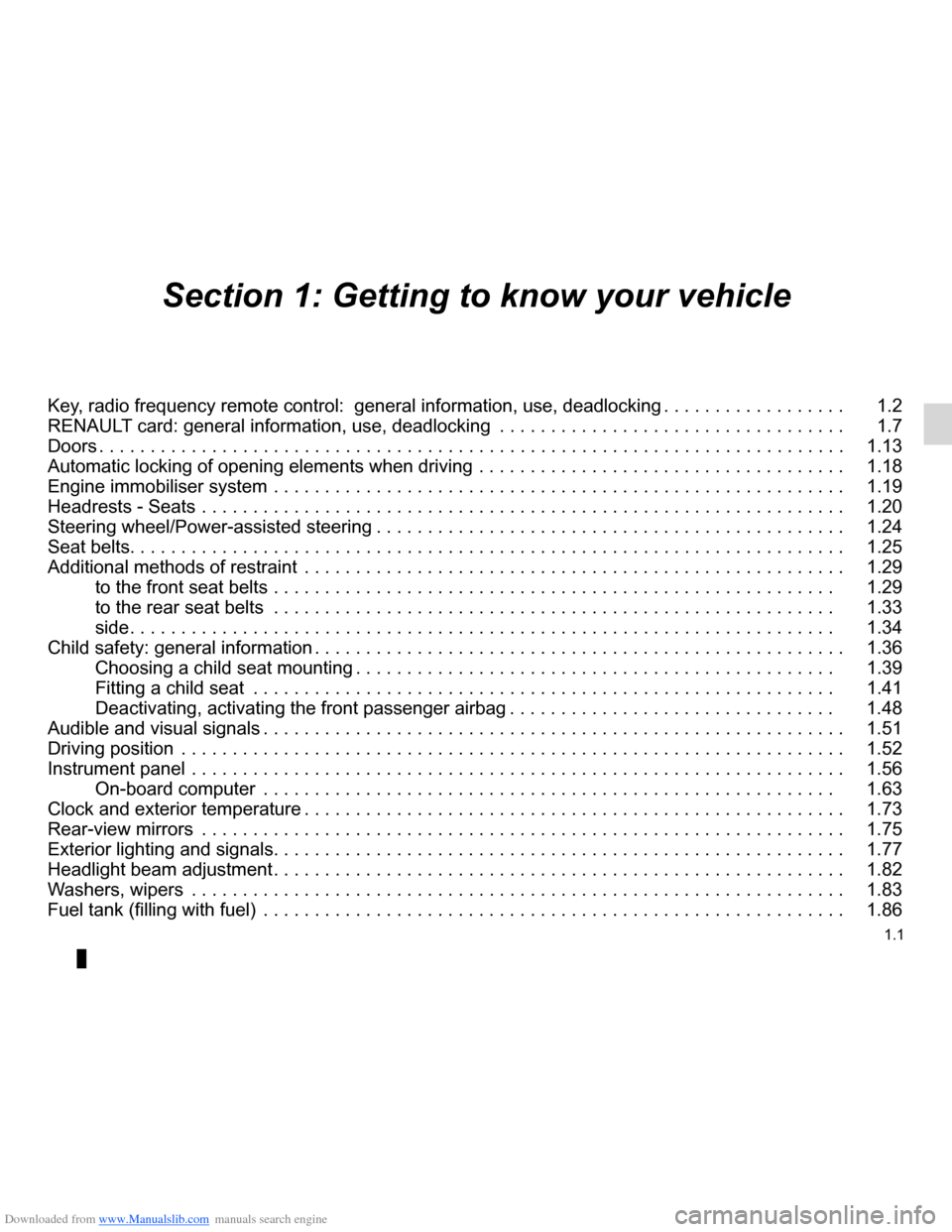 RENAULT CLIO 2012 X85 / 3.G Owners Manual, Page 7