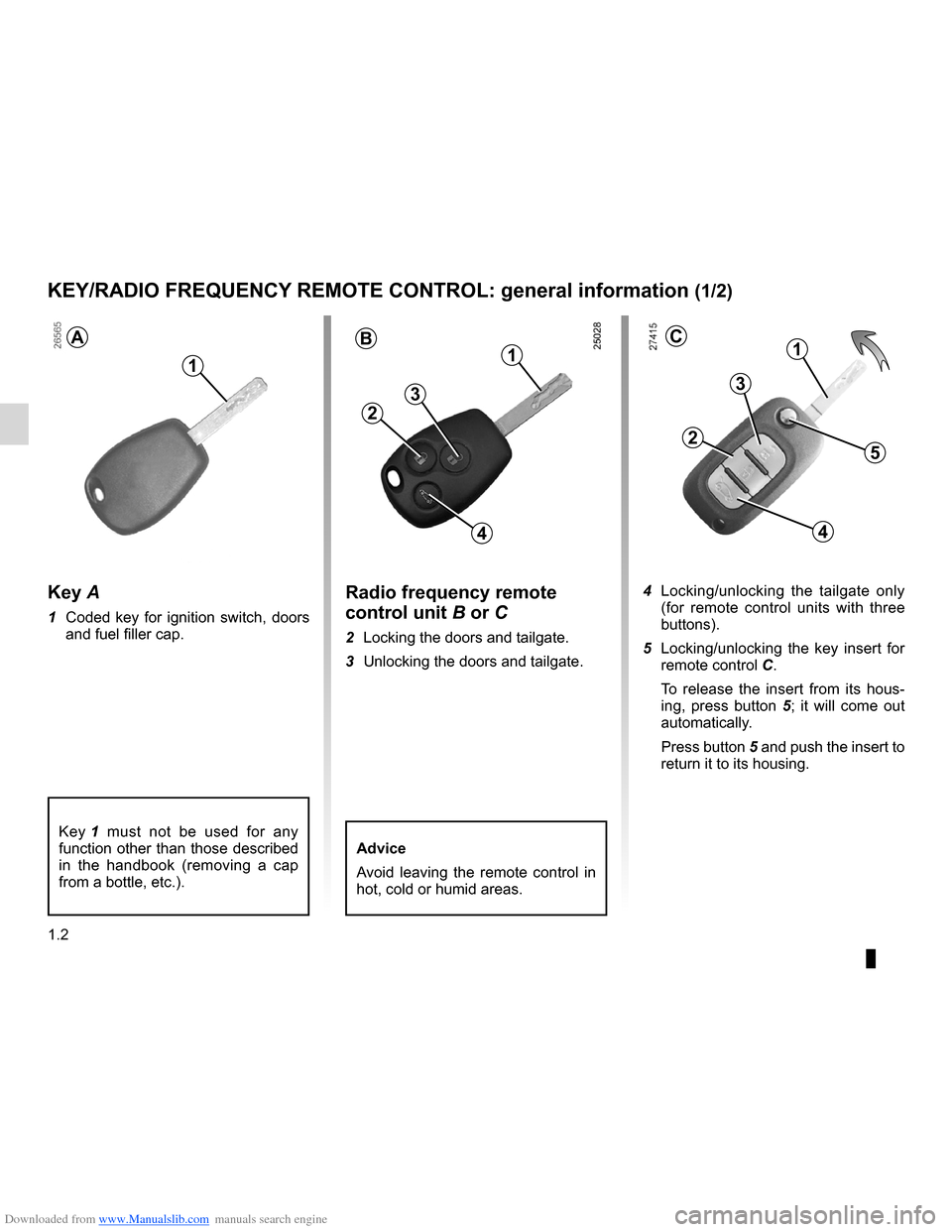RENAULT CLIO 2012 X85 / 3.G Owners Manual, Page 8