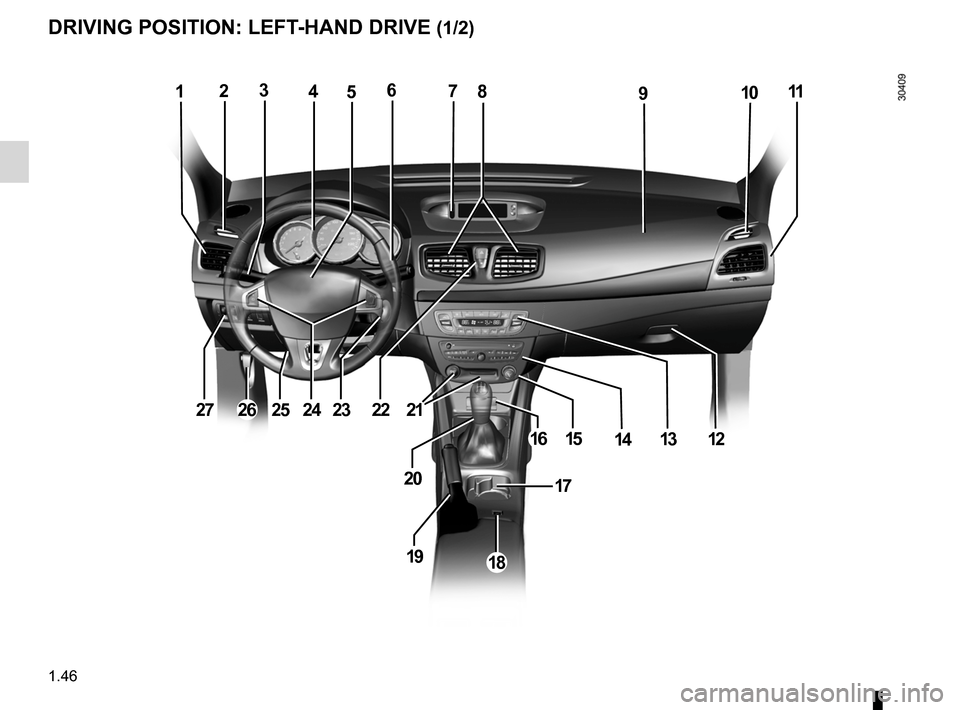 RENAULT FLUENCE 2012 1.G Service Manual driver's position .................................... (up to the end of the DU) controls  ................................................. (up to the end of the DU) dashboard .....................