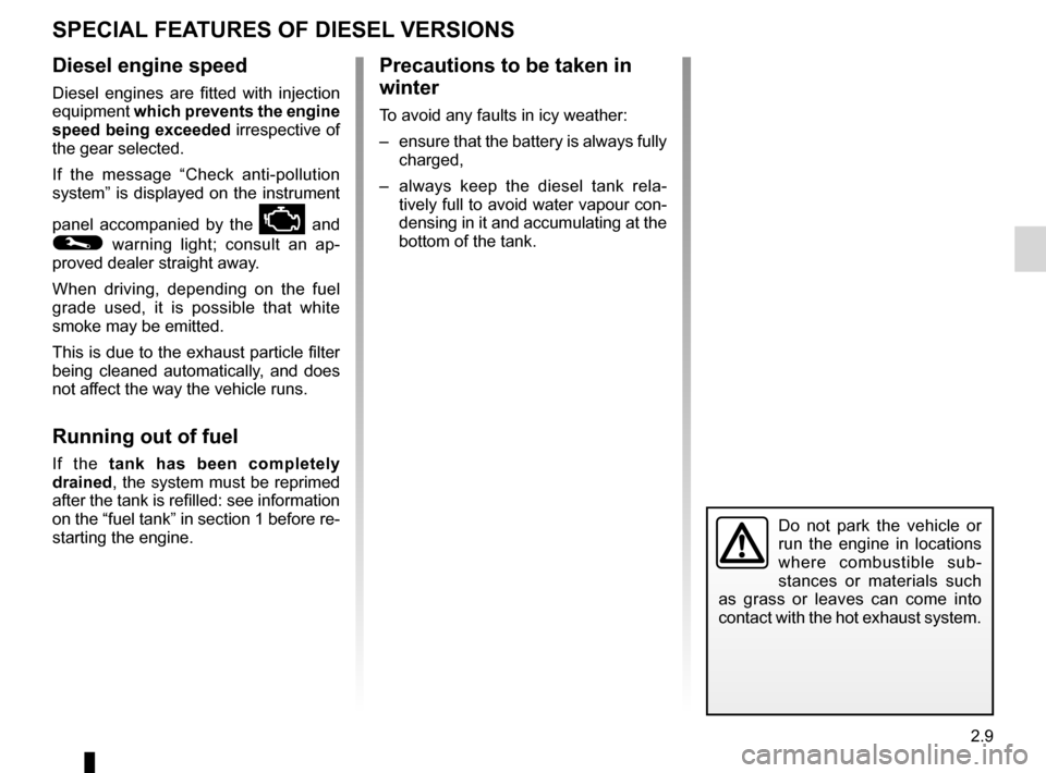 RENAULT FLUENCE 2012 1.G Owners Manual catalytic converter................................. (up to the end of the DU) special features of diesel versions ........(up to the end of the DU) driving  ..........................................
