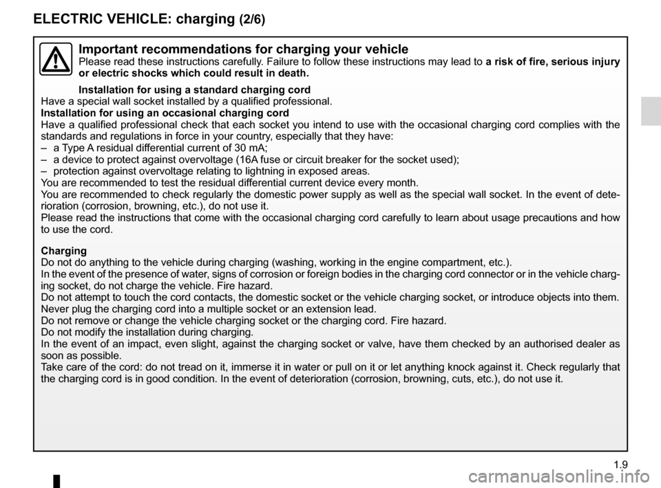 RENAULT FLUENCE ZERO EMISSION 2012 1.G Owners Manual, Page 14
