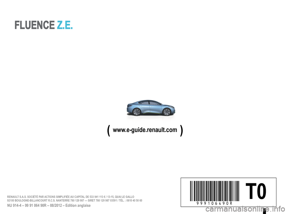RENAULT FLUENCE ZERO EMISSION 2012 1.G Owners Manual, Page 195