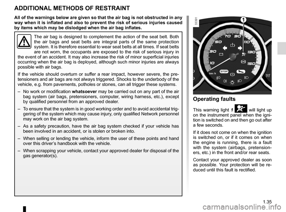 RENAULT FLUENCE ZERO EMISSION 2012 1.G Owners Manual, Page 40