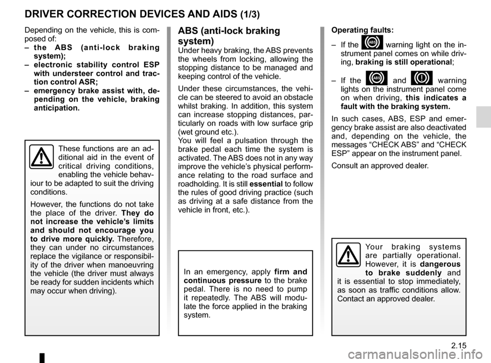 RENAULT KANGOO 2012 X61 / 2.G Owners Manual, Page 101