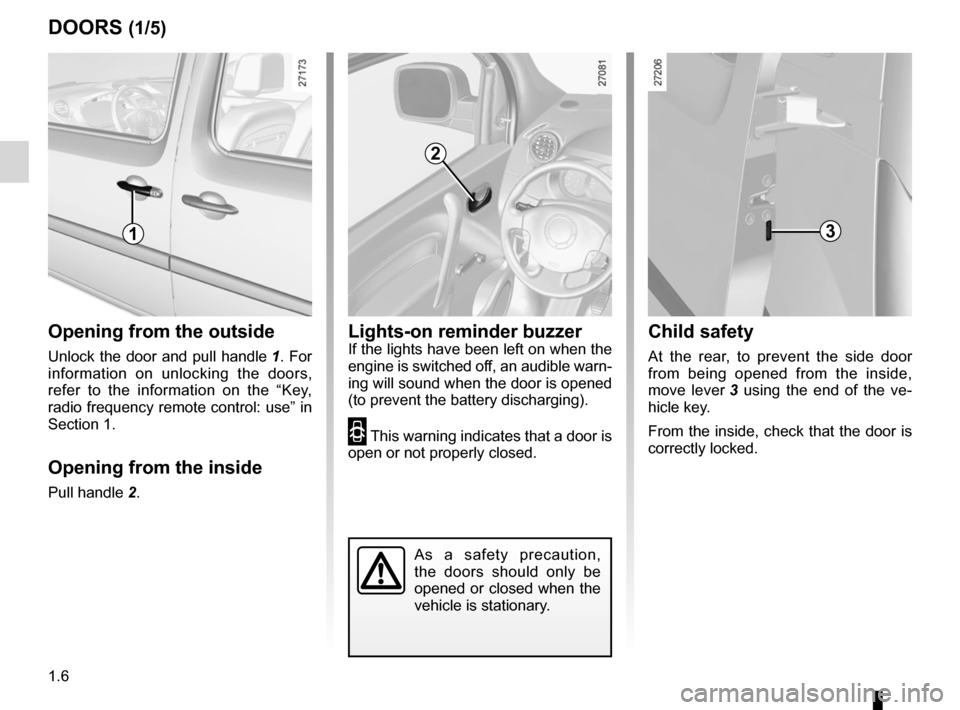 RENAULT KANGOO 2012 X61 / 2.G Owners Manual, Page 12