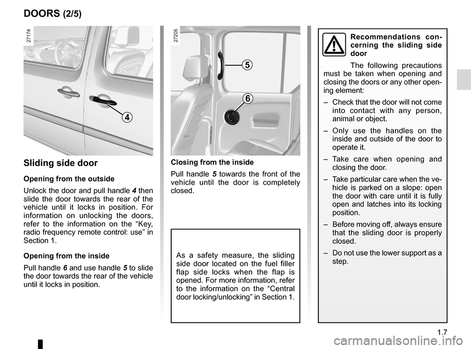 RENAULT KANGOO 2012 X61 / 2.G Owners Manual, Page 13