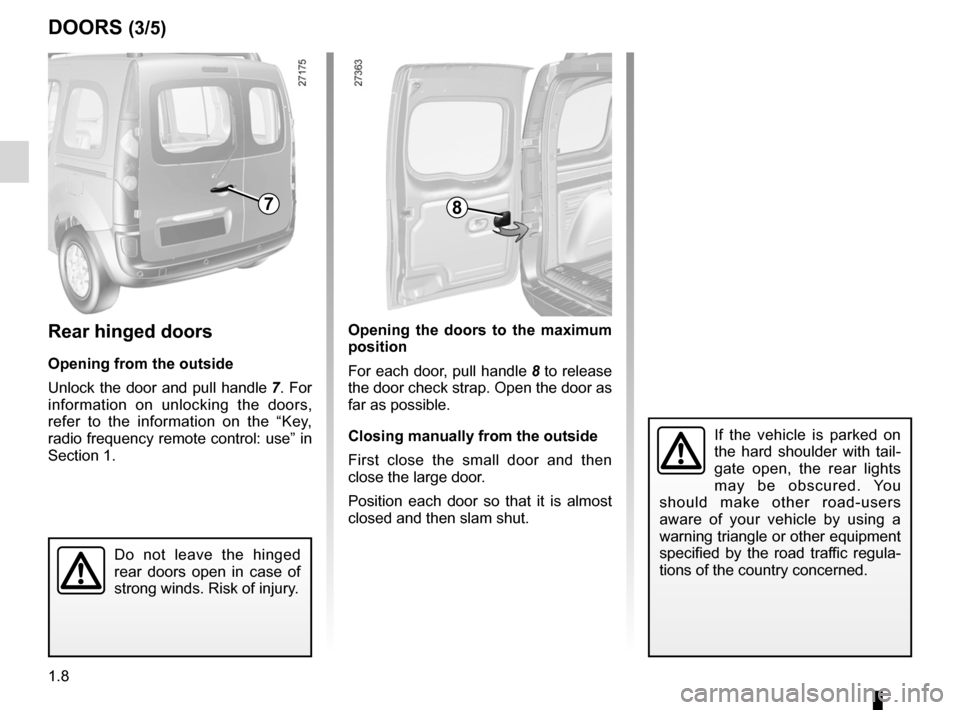 RENAULT KANGOO 2012 X61 / 2.G Owners Manual, Page 14