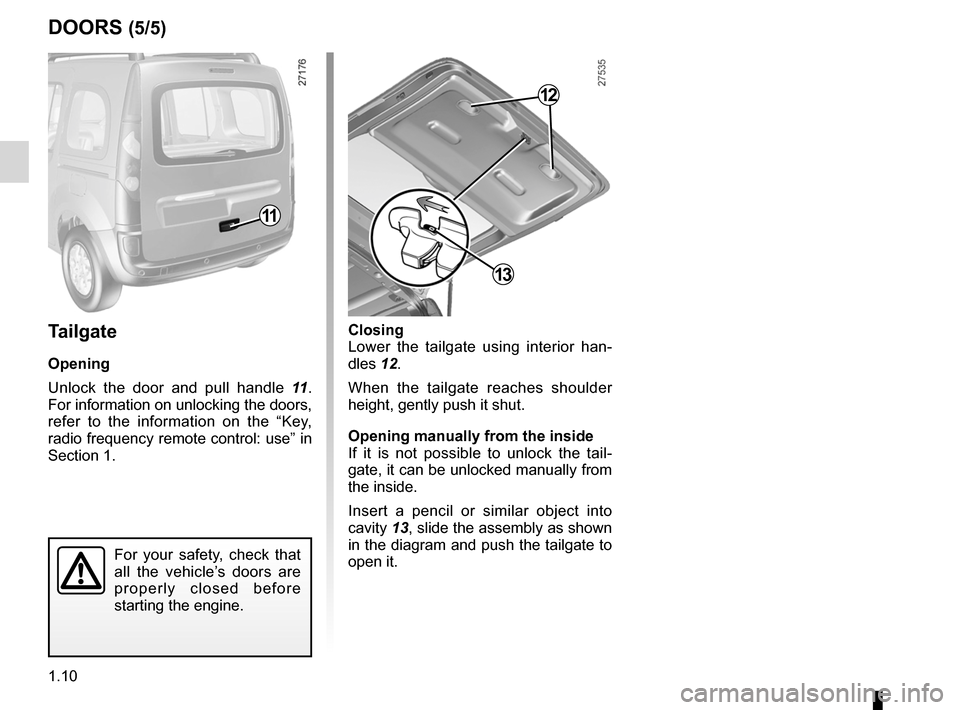 RENAULT KANGOO 2012 X61 / 2.G Owners Manual, Page 16